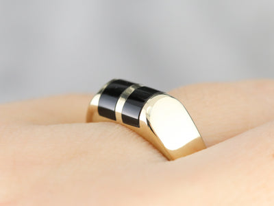 Mid Century Yellow Gold and Onyx Ring