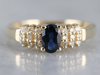Modern Yellow Gold Sapphire and Diamond Ring
