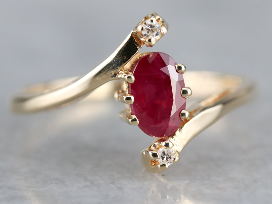 Pretty Ruby and Diamond Bypass Ring