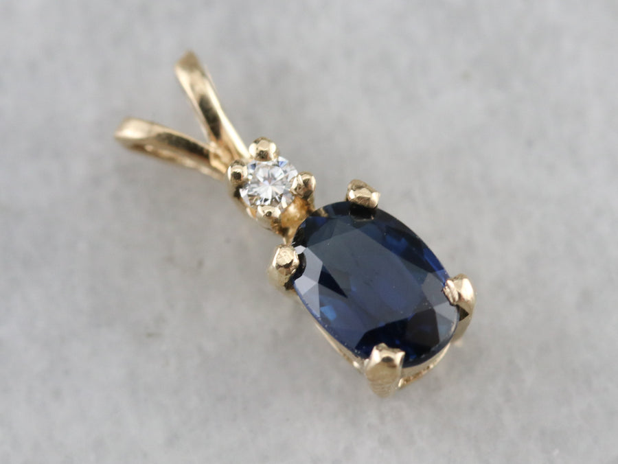 Sapphire and Diamond Pendant in Yellow Gold