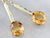 Citrine Yellow and Green Gold Drop Earrings