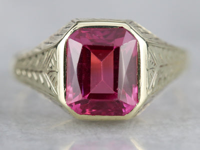 Engraved Art Deco Synthetic Ruby Ring