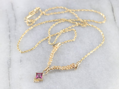 Pink Tourmaline Yellow Gold Necklace