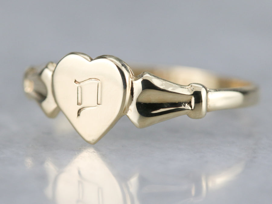 "Vintage Heart Shaped Signet Ring with ""P"" Initial"