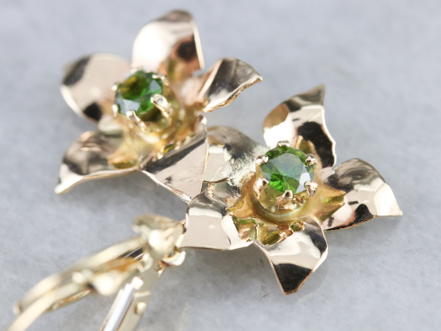 Demantoid Garnet Flower Drop Earrings