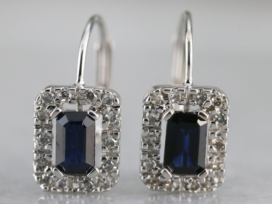 Sapphire and Diamond Drop Halo Earrings