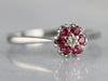 White Gold Diamond and Ruby Halo Ring