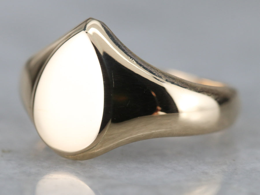 Teardrop Gold Signet Ring