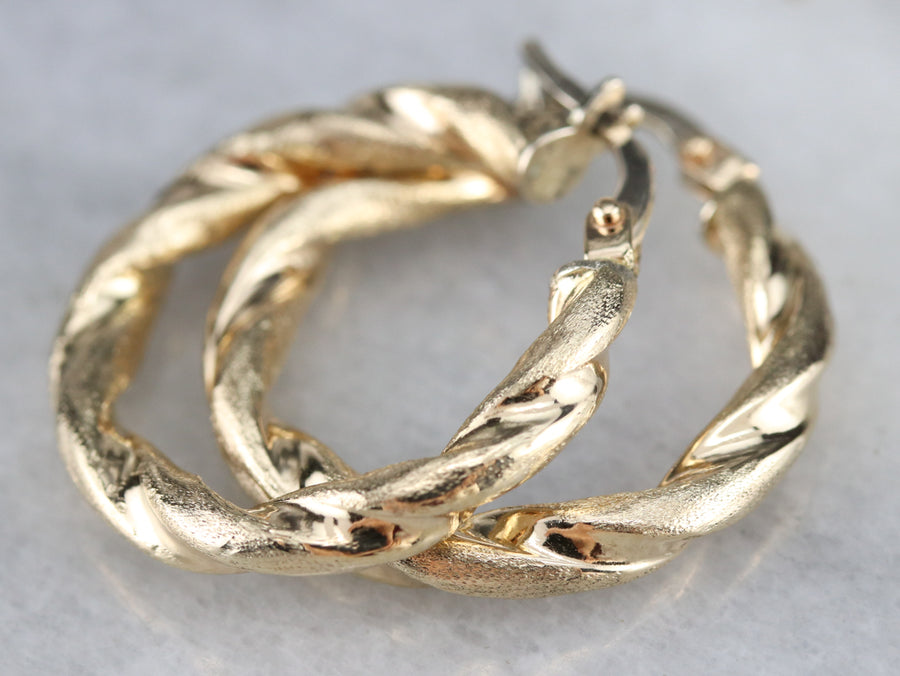 Italian Twisting Gold Hoop Earrings
