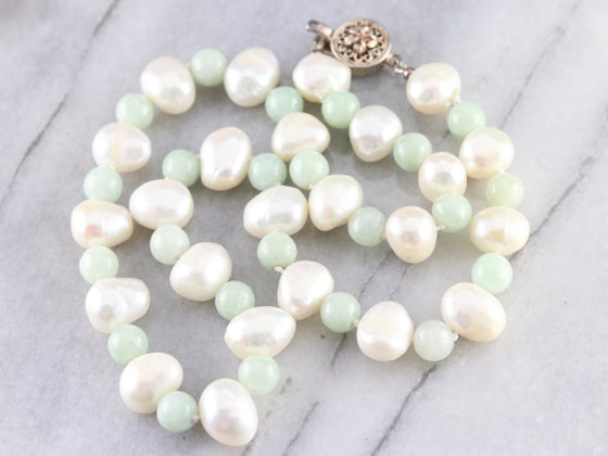 Freshwater Pearl and Jade Beaded Necklace