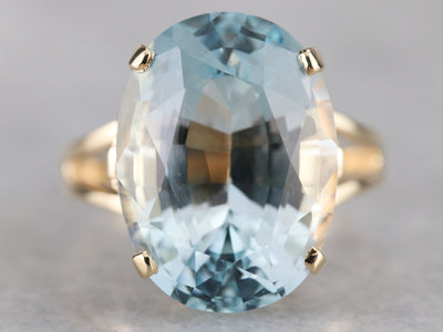 Blue Topaz Yellow Gold Cocktail Ring