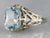 White Gold Art Deco Blue Topaz Ring