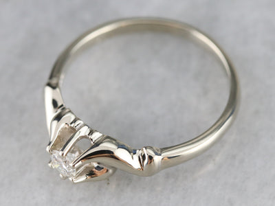 Scrolling Diamond Solitaire Ring