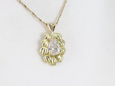 Botanical Pear Cut Diamond Pendant