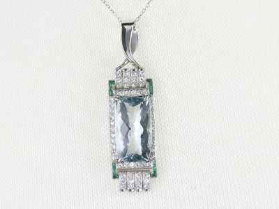 Upcycled Blue Topaz Emerald and Diamond Pendant