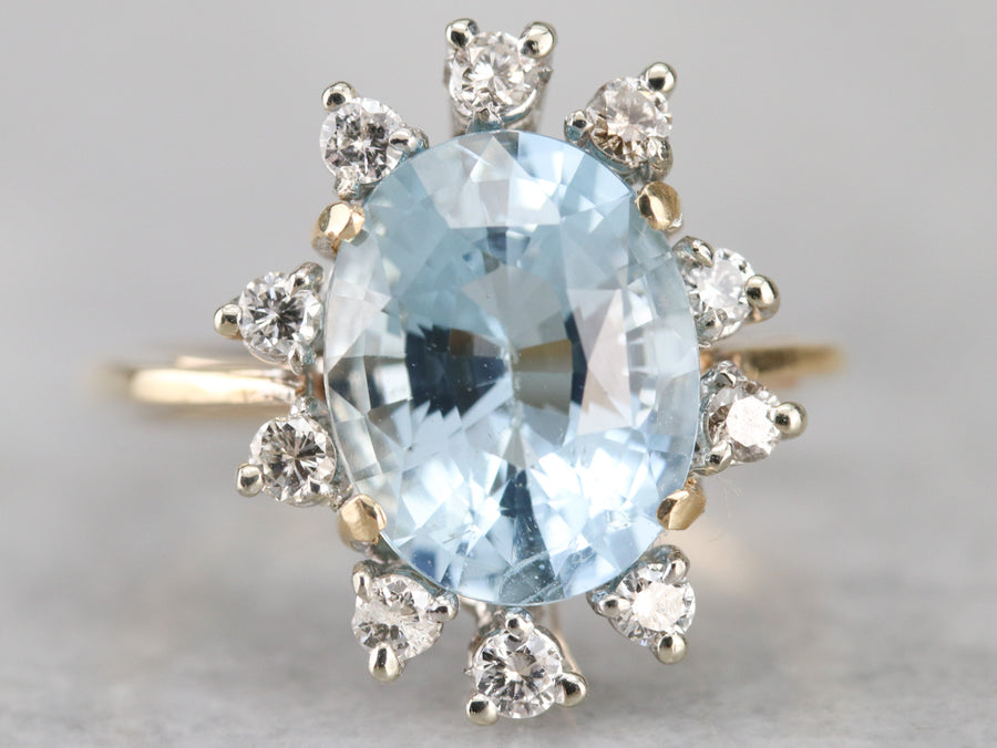 Aquamarine Diamond Halo Cocktail Ring