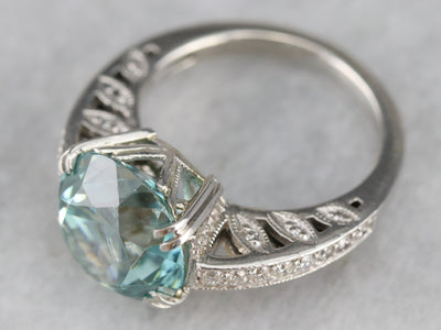 Platinum Blue Zircon and Diamond Cocktail Ring