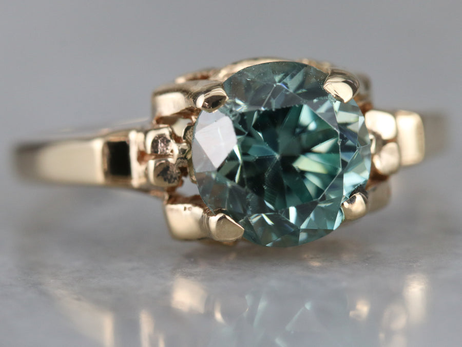 Vintage Blue Zircon Solitaire Ring