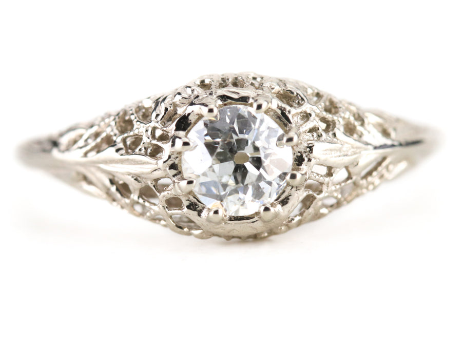 The Marcy Old Mine Cut Diamond Solitaire Engagement Ring from the Elizabeth Henry Collection