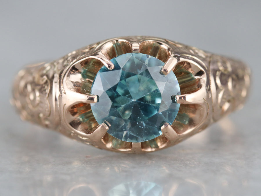 Blue Zircon Victorian Solitaire Ring