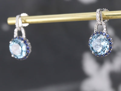 Blue Topaz Diamond and Sapphire Drop Earrings