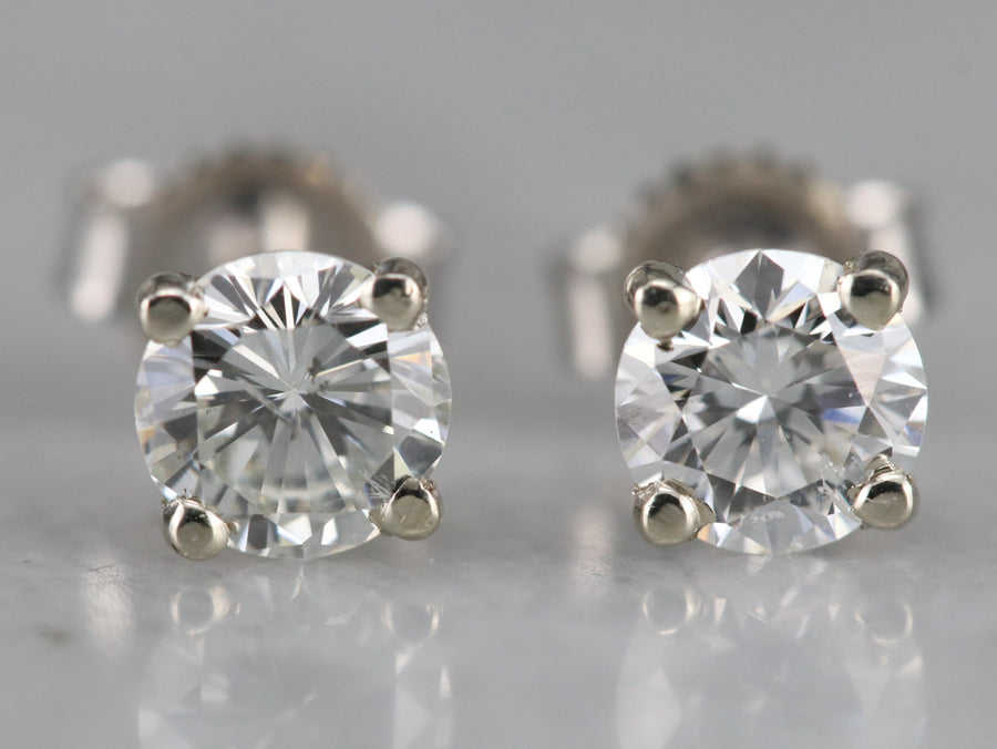 Classic Diamond Stud Earrings in White Gold