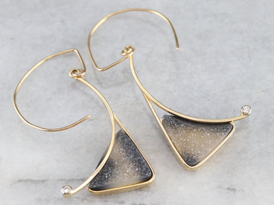 Modernist Druzy Quartz and Diamond Drop Earrings