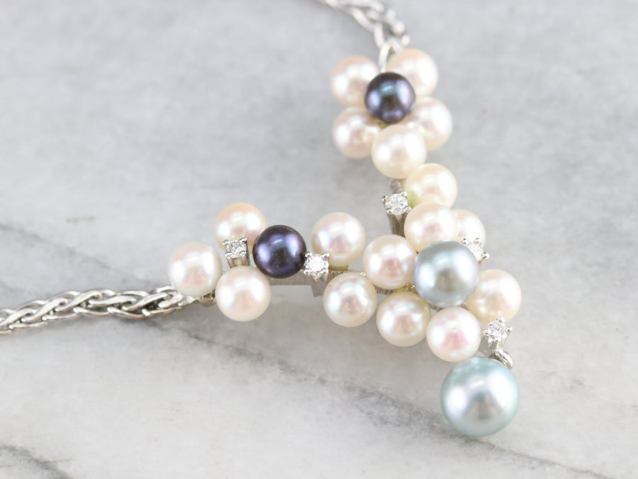 Diamond and Pearl Cluster Necklace