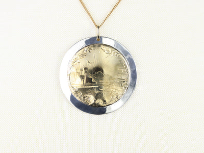 Etched Mixed Metal Landscape Pendant