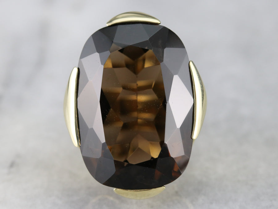 Gold 1970s Smoky Quartz Cocktail Ring