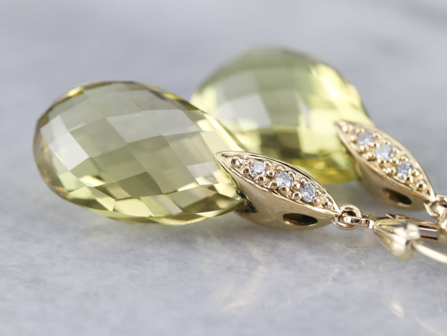 Lemon Quartz and Diamond Drop Earrings