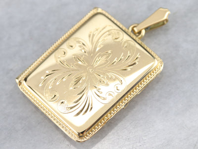 Vintage Etched Gold Floral Locket