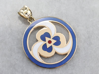 Gold Spiral and Clover Enamel Pendant