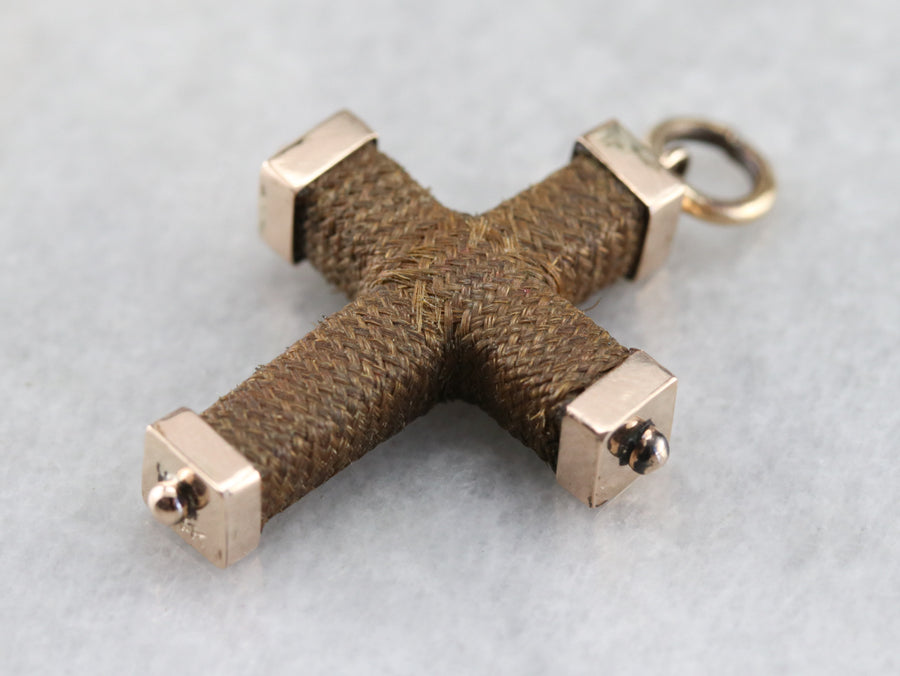Victorian Mourning Jewelry Cross Pendant