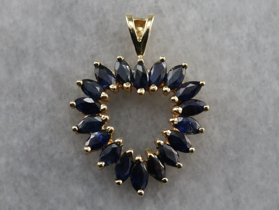 Marquise Sapphire Heart Pendant