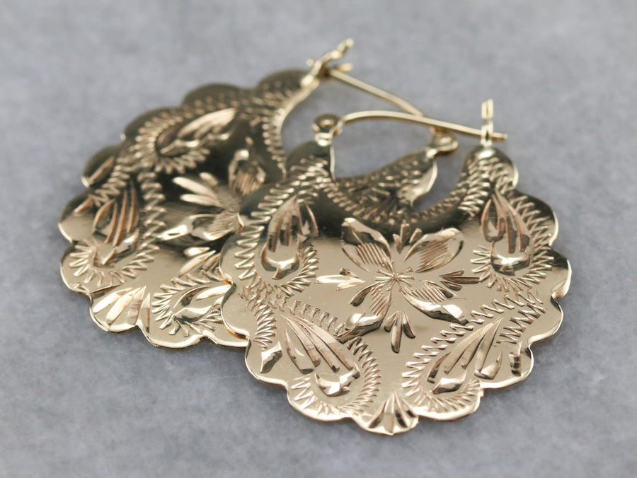 Engraved Gold Floral Drop Earrings