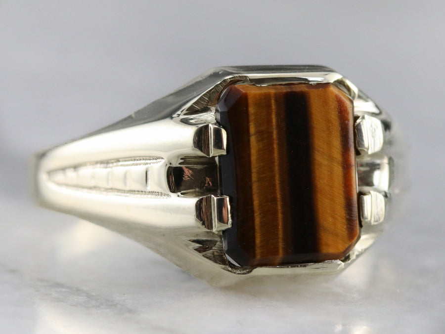 Vintage Tigers Eye White Gold Ring