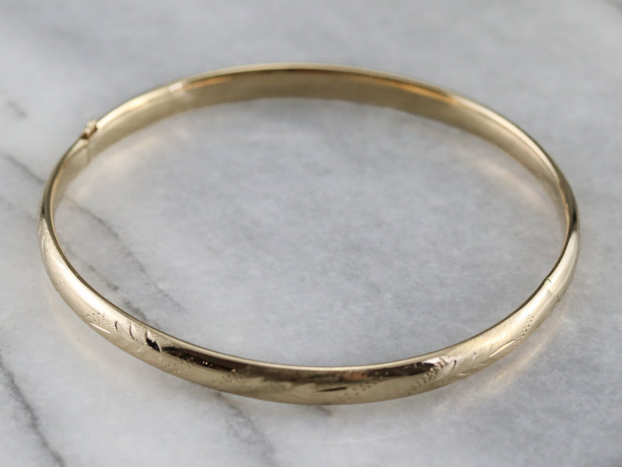 Etched Gold Bangle Bracelet