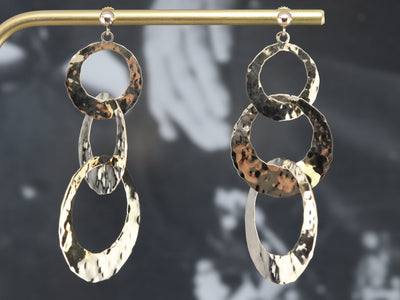 Hammered Finished Circle Drop Earrings