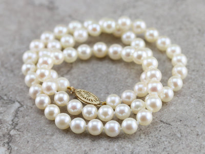 Vintage Beaded Buttercream Pearl Necklace