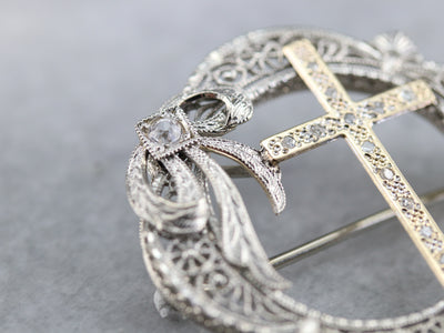 Diamond Filigree Cross Brooch