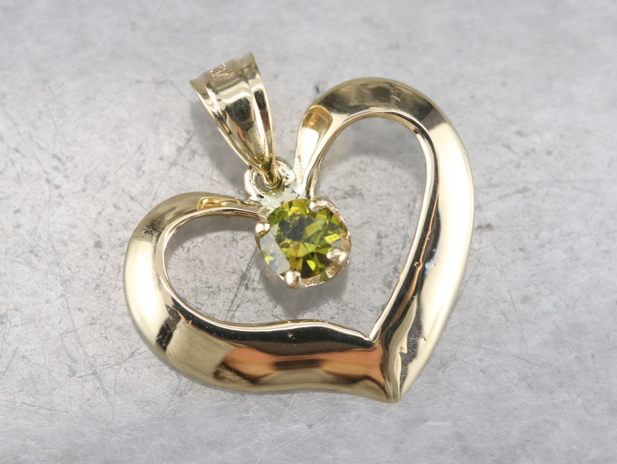 Gold Demantoid Garnet Heart Pendant