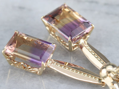 Ametrine and Gold Drop Earrings