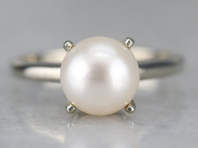 White Gold White Pearl Solitaire Ring