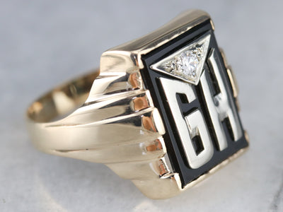 "Men's ""GH"" Monogrammed Diamond and Onyx Ring"