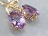 Gold Amethyst and Diamond Drop Earrings