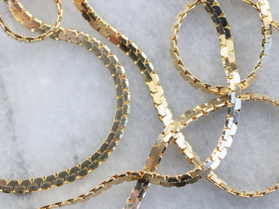Long Gold Flat Serpentine Chain