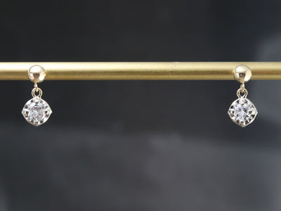 Diamond and Gold Drop Earrings