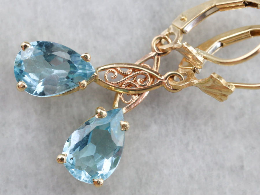 Blue Topaz Gold Filigree Earrings