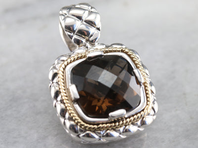Silver and Gold Smoky Quartz Pendant